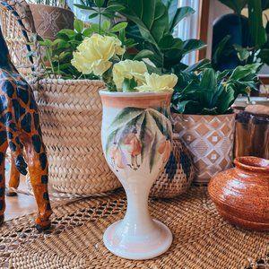 Vintage Hand Painted Fuchsia Fairy Flower Vase